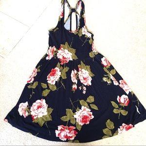 UO Kimchi Blue Navy Floral Tank Keyhole Dress-S